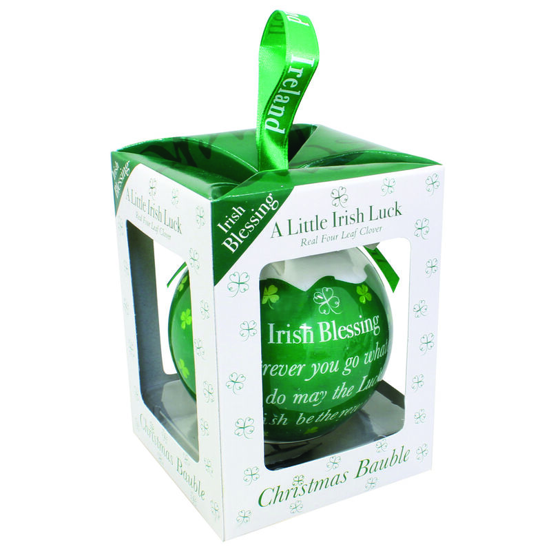 4 Leaf Clover Green Christmas Bauble With Irish Blessing