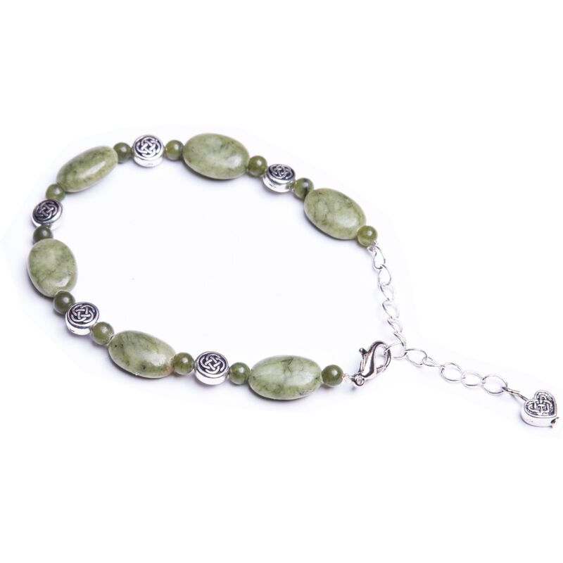 Connemara Marble Two Tone Bracelet With Celtic Knot Design Beads
