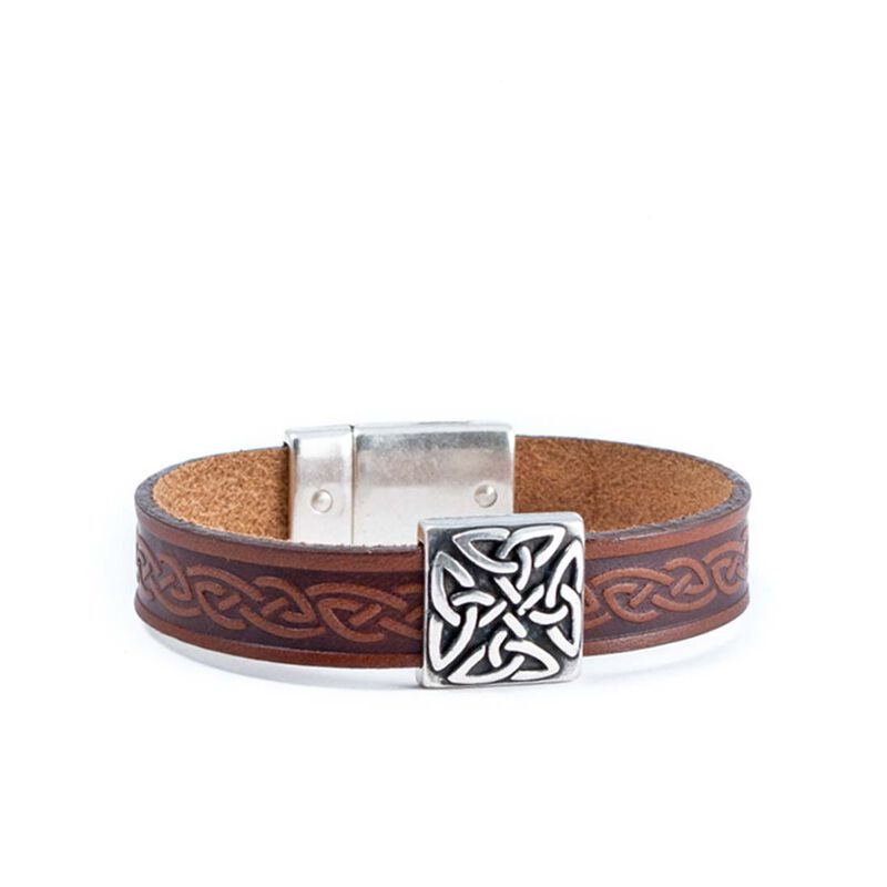 Lee River Brown Leather Cuff with Square Celtic Trinity Knot Designed Charm