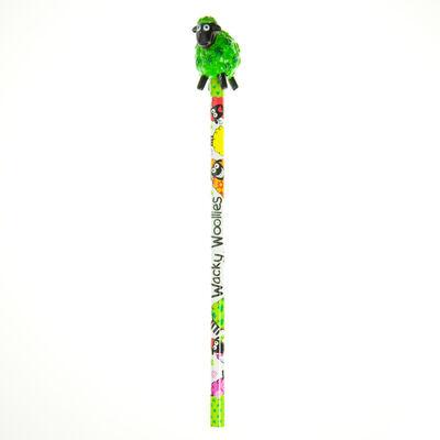 Weiße Wacky Woollies Reihe Bleistift mit mehrfarbigem Schafen und 3D Ende