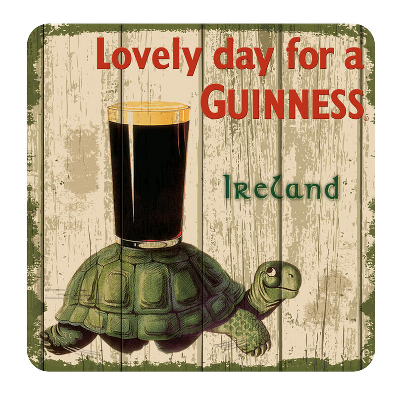 Nostalgic Guinness Coaster with Tortoise and Pint and Lovely Day For a Guinness Text