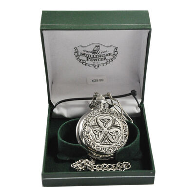 Mullingar Pewter Pocket Watch With Shamrock And Trinity Design And Celtic Border