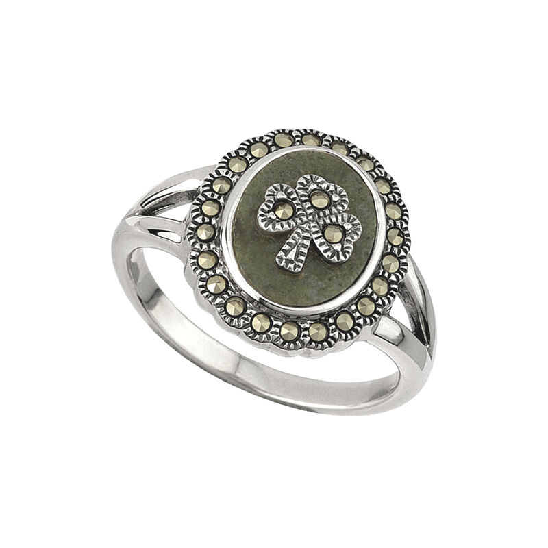 Hallmarked Sterling Silver  Marcasite Connemara Marble  Shamrock Embedded Ring