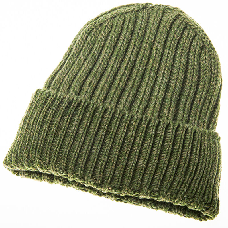 Cozy Unisex Ribbed Woollen Knitted Hat In Fern Green Colour