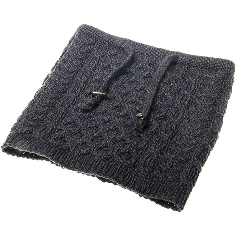 Honeycomb And Cable Knitted Snood With Toggle Chord In Charcoal