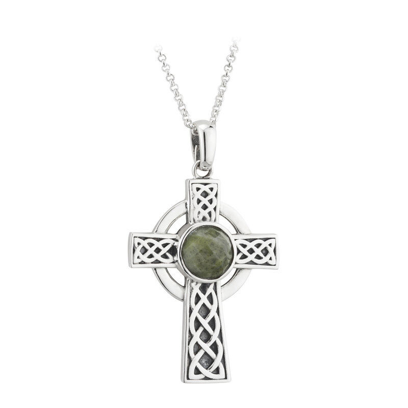 Hallmarked Sterling Silver Celtic Cross Pendant With Connemara Marble Stone