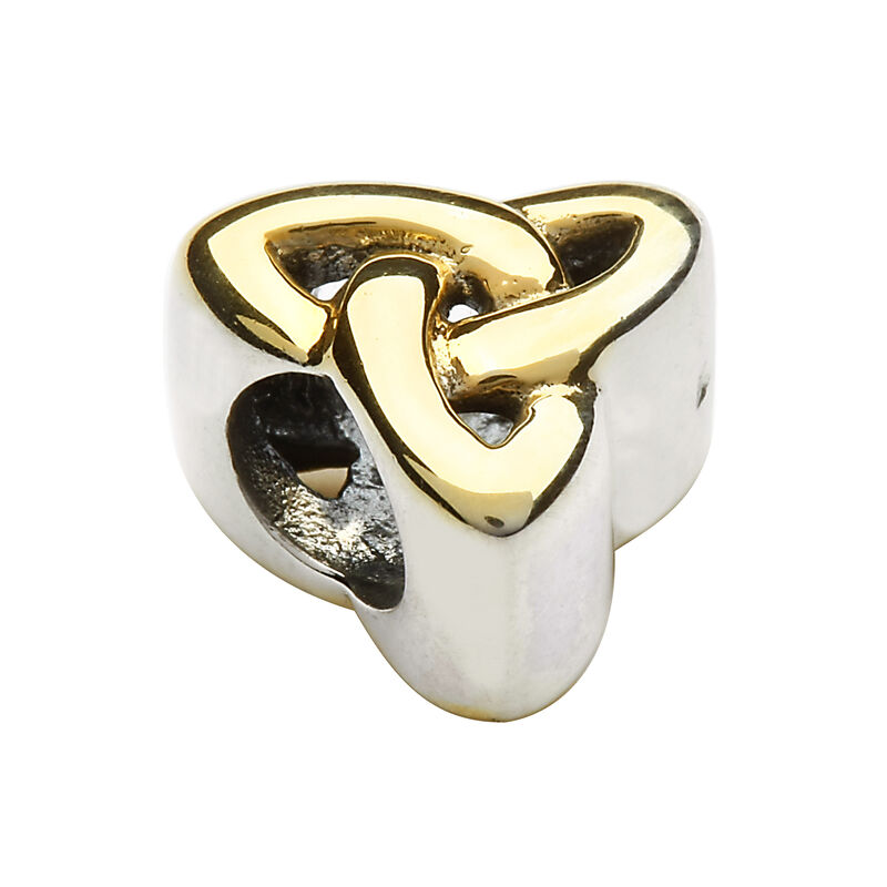 Hallmarked Sterling Silver Gold Plated Trinity Knot Bead Charm