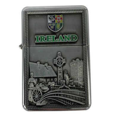 Ireland Designed Metal Oil Lighter With 4 Provence's Of Ireland Badge