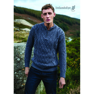Dris Merino Wool Aran Zip Neck Sweater, Steel Marl Colour