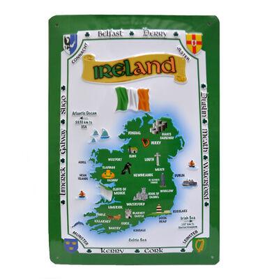 Ireland Map Metal Sign (20Cm X 30Cm)