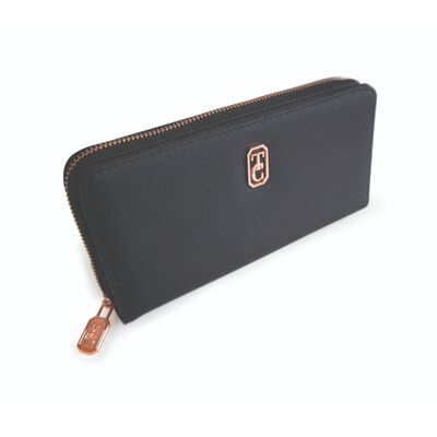 Tipperary Crystal Large Black Ladies Zipped Wallet With Gold Hardware