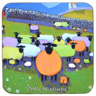 """Irish Coaster With Colourful Sheep And The Text """"Dolly Mixtures"""""""