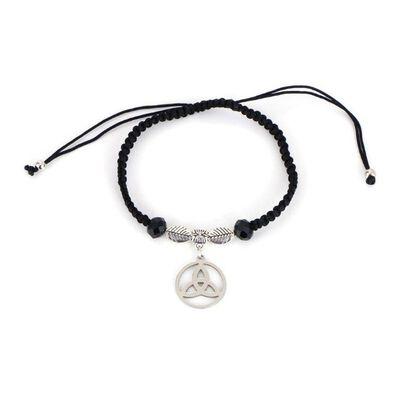 Black String Bracelet With Trinity Knot