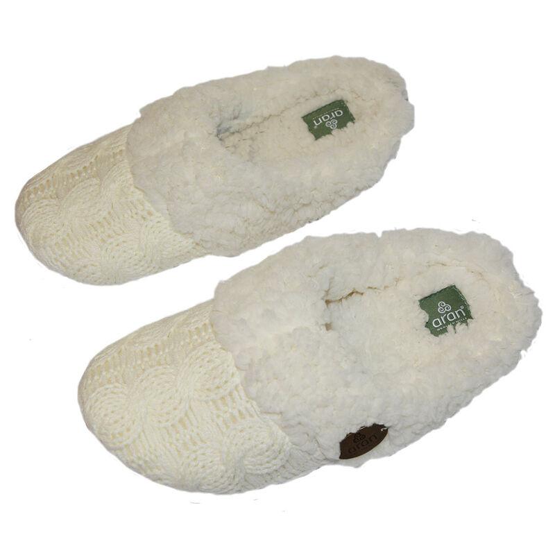Aran Knitted Slip On Slippers