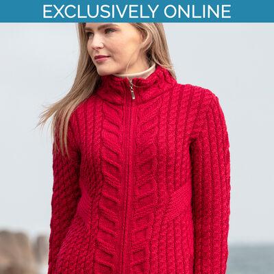 West End Knitwear Cherry Colour Kinsale Aran Zip Cardigan 100% Merino Wool