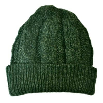 Merino Wool Knit Hat  Army Green