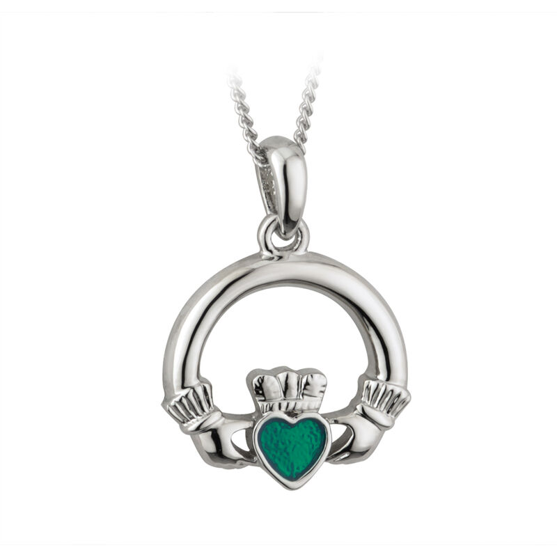 Silver Plated Claddagh Pendant With Emerald Cubic Zirconia Stone