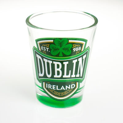 Loose Shot Glass With Dublin  Ireland And Green Shamrock Design