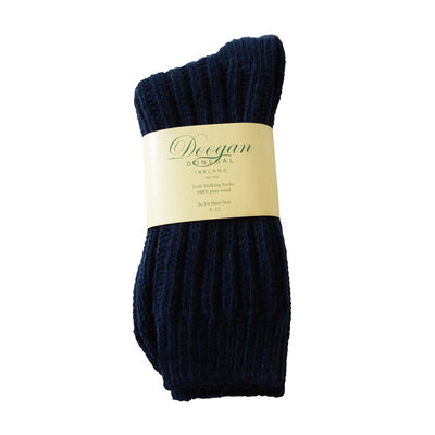 Doogan Donegal 100% Pure Wool Irish Walking Socks  Navy Colour