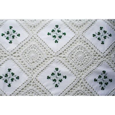 Gehäkelte Shamrock Tischdecke aus reiner Baumwolle und Spitzenrand (36