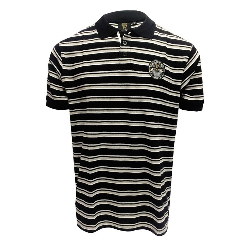Official Guinness Woven Polo Shirt With Black Grey And White Striped Design