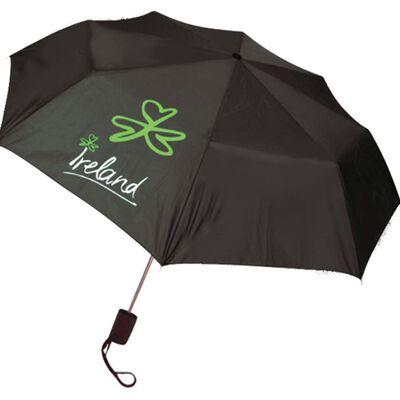 Black Umbrella With Ireland and Shamrock Print