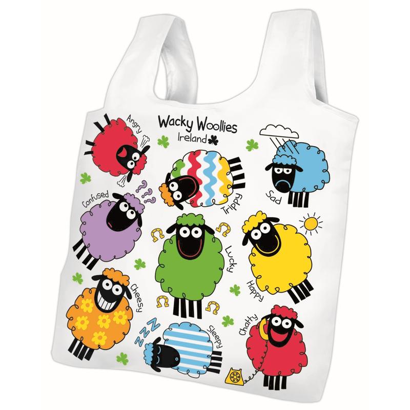 Wacky Woolies Sheep Ireland Design Fold - Up Shopper Bag With handles
