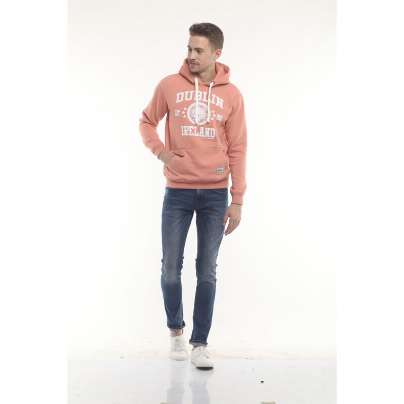 Pullover Hoodie With Dublin Ireland Est  988 Stars Print  Nude Colour