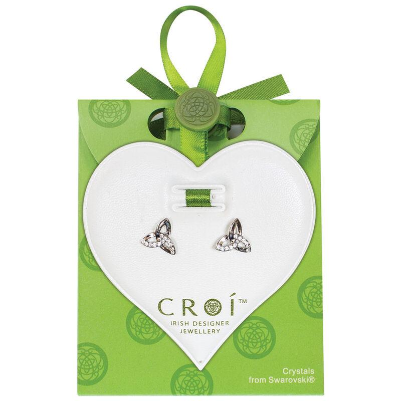 Croí-Dreiheits-Ohrringe mit Swarovski-Kristallen und silbernem Knotendesign