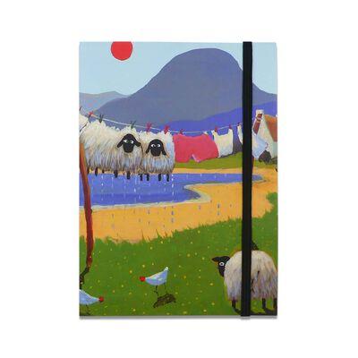 Notizbücher im irischen Design mit zwei Schafen  die an einer Wäscheleine hängen