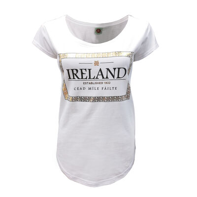 Cead Mile Failte Ladies T-Shirt  White And Gold Colour
