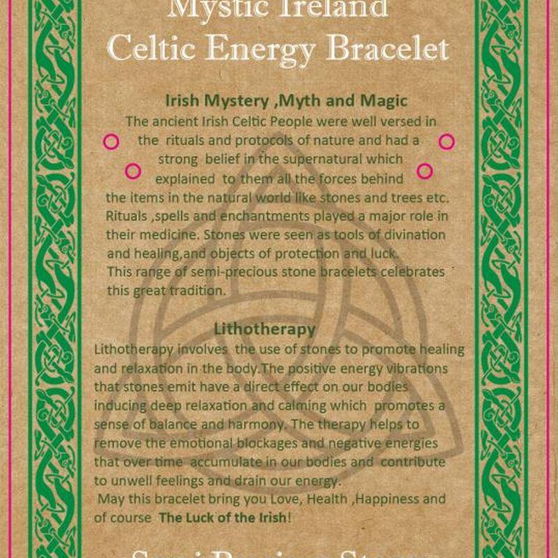 Mystic Ireland Rose Quartz Semi Precious Stone Celtic Energy Bracelet