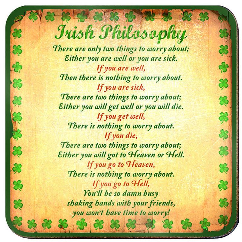 Ireland Loose Coaster Irish Philosophy With Green Shamrock Design
