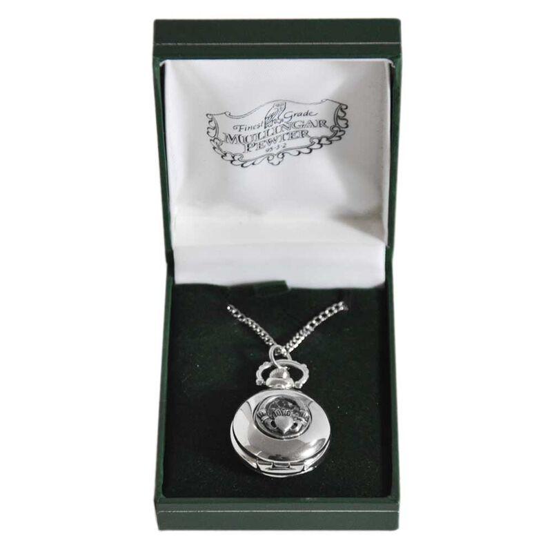 Mullingar Pewter Ladies Pocket Watch With Claddagh Design