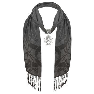 Ladies Black Designed Scarf With Large Metal Celtic Shamrock Pendant