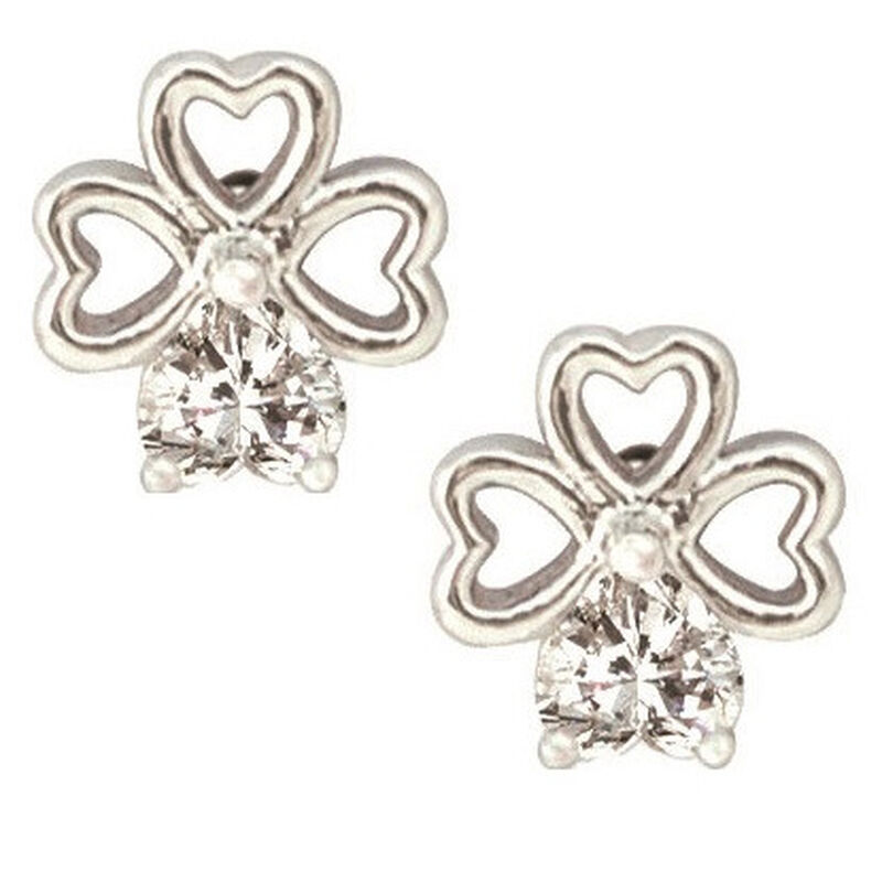 Shamrock Ribbon Earrings With Cubic Zirconia Stems  Silver Plated