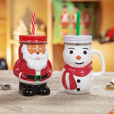 0.5l Christmas Designed Mason Jars with Straw