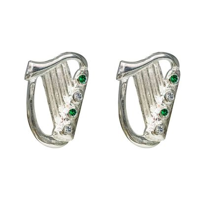 Silver Plated Irish Designed Harp Stud Earrings With Green Stone