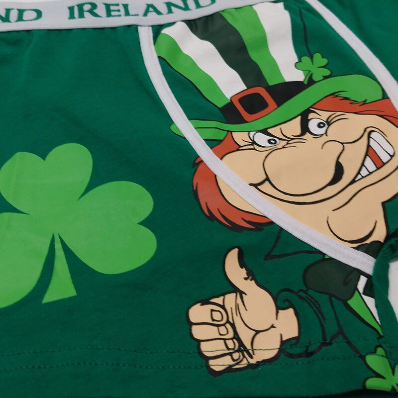 Boxer Shorts With Cheeky Leprechaun And Luck Of The Irish Print  Green Colour