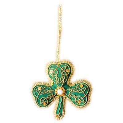 Green Shamrock Shaped Hanging Christmas Decoration With Gold Celtic Needlework