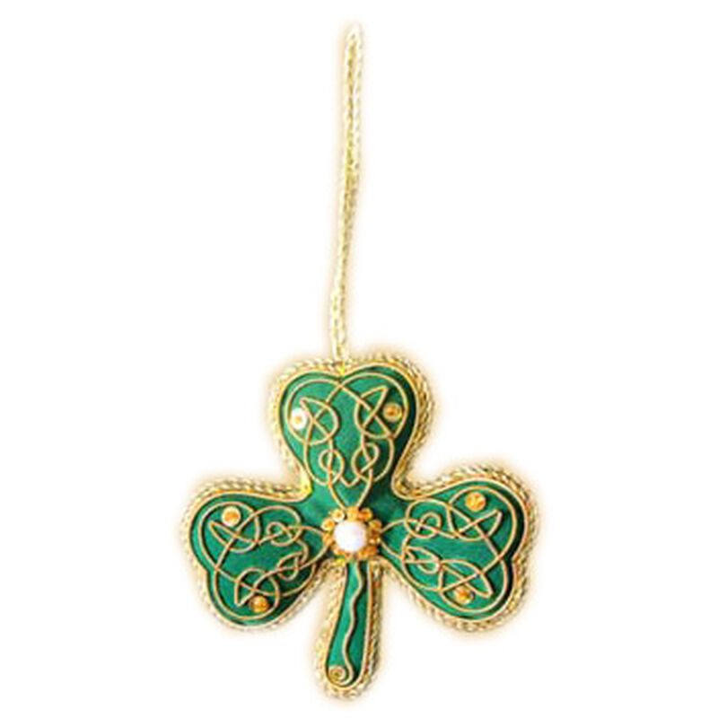 Green Shamrock Shaped Hanging Christmas Decoration With Gold Celtic Needlework