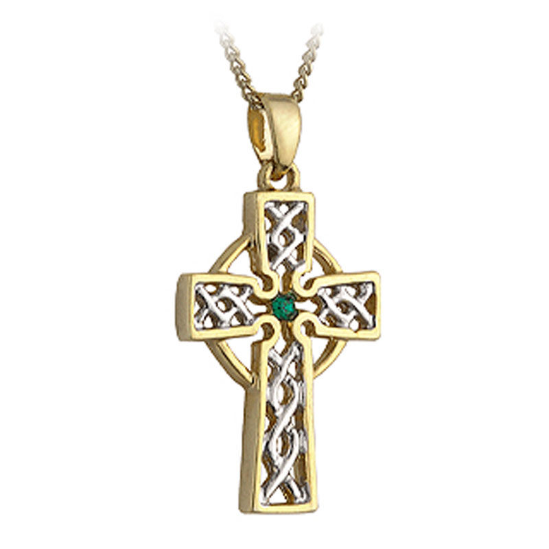 Gold Plated Two Toned Celtic High Cross Pendant With Emerald Stone