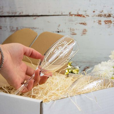 Personalised Champagne Flute 2 Pack With Engraving and Gift Box