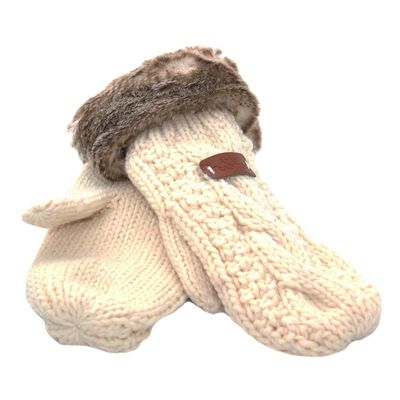 Knit Style Cream Mitten Gloves With Faux Fur Detail