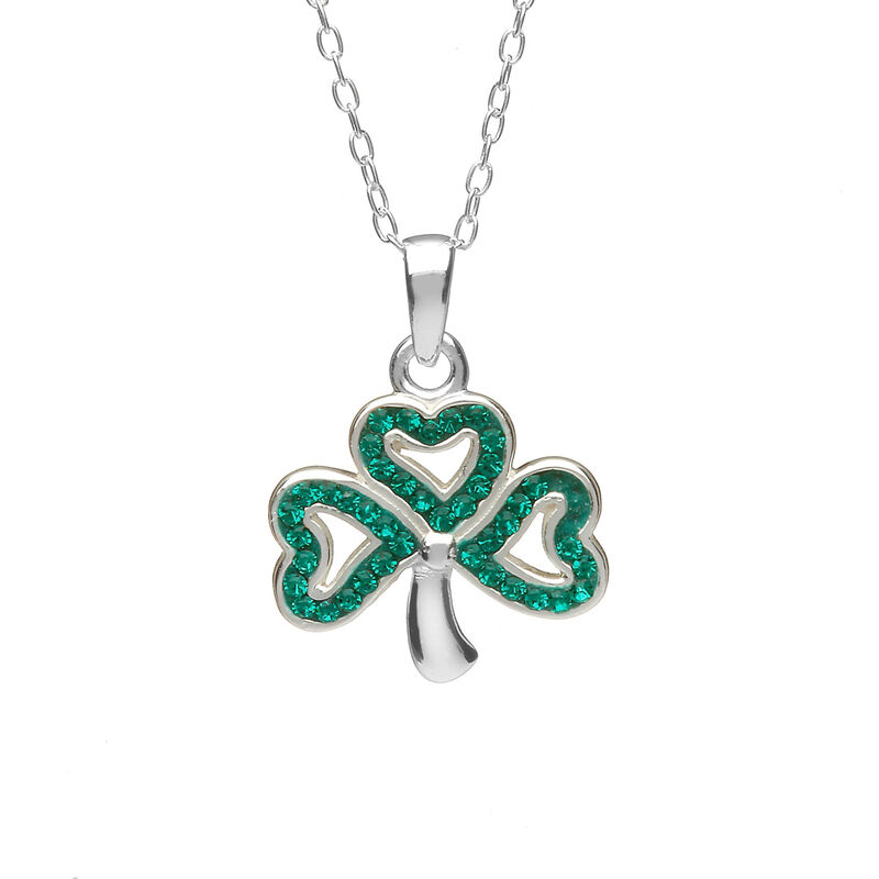 Hallmarked Sterling Silver Open Shamrock Pendant With Green Cubic Zirconia