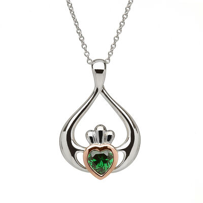 Hallmarked Sterling Silver Claddagh Pendant With Green Cubic Zirconia