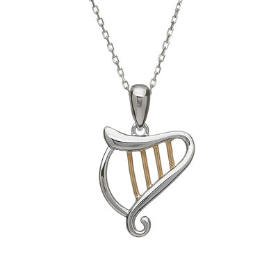 Hallmarked Sterling Silver Celtic Harp Pendant With Rose Gold Design