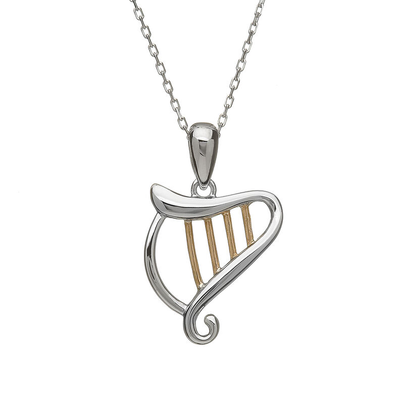 Hallmarked Sterling Silver Celtic Harp Pendant With Rose Gold Design