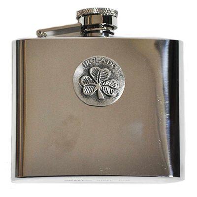 Mullingar Pewter Stainless Steel Hip Flask With Shamrock