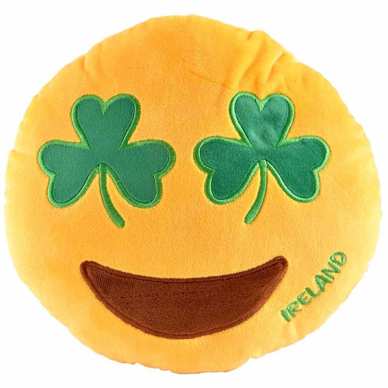 Plush Irish Designed Cushion With Green Shamrock Smiling Emoji Face